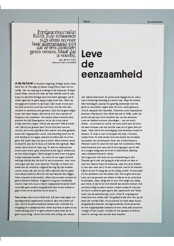 Volkskrant Magazine. Essay Leve de eenzaamheid